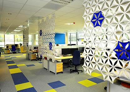 Advice choose Office carpet tiles coloured open space