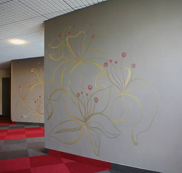 Inspiration Grande Reference hotel office origami dalles moquette mur fleuris